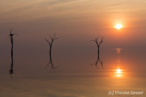 Sun setting over the quiet waters of Lake Kariba, Zimbabwe, 3