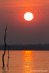 Sun setting over the quiet waters of Lake Kariba, Zimbabwe, 6