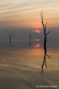 Sun setting over the quiet waters of Lake Kariba, Zimbabwe, 9