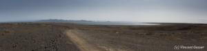 On the moon, the approach of Lake Turkana, Kenya