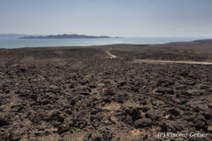 Lava rocks approach to Lake Turkana, Kenya