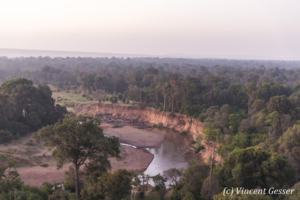 Aerial view and photography Masai Mara National Reserve at dawn, TransMara, Kenya, 1