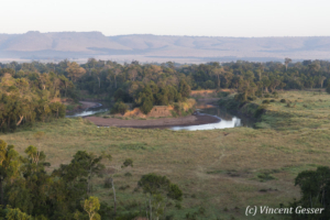 Aerial view and photography Masai Mara National Reserve at dawn, TransMara, Kenya, 9