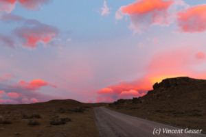 Dawn and pink cloud formation over Torres del Paine National Park, Chile