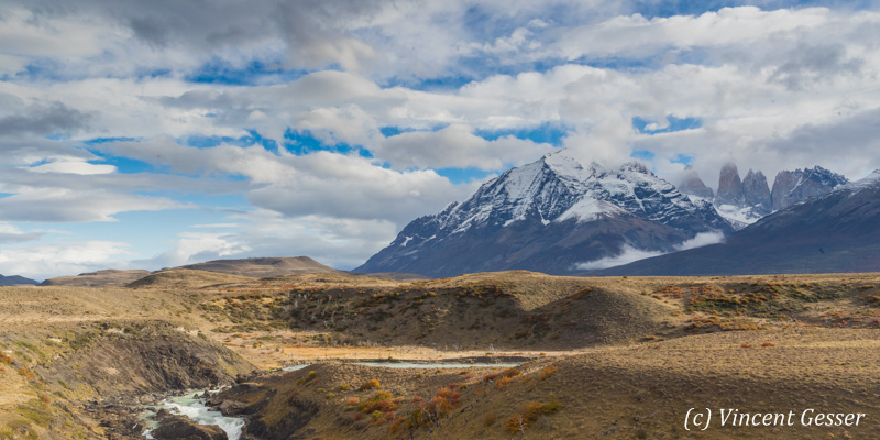Landscape of Torres del Paine National Park in Patagonia at Fall, Chile