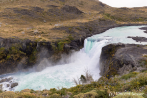 Landscape and waterfall of Torres del Paine National Park in Patagonia, Chile