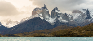 Landscape of the Cordillera Paine and Lake Pehoe in Fall, Chile