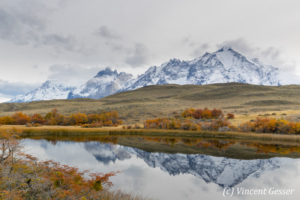 Landscape and reflection of the Cordillera Paine in Fall, Chile