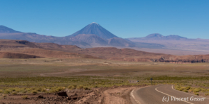 Landscape of the Atacama Desert and Licancabur volcano, Chile