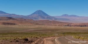 Landscape of the Atacama Desert and Licancabur volcano, Chile