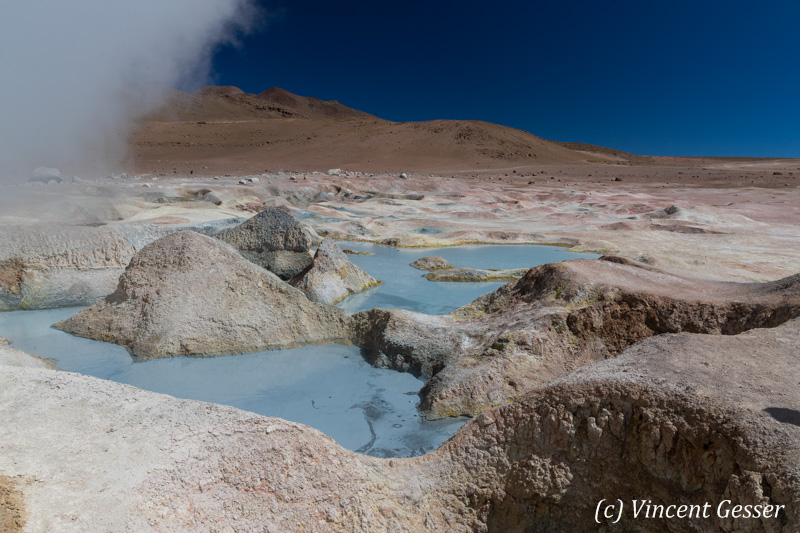 Geothermal field and pool of Sol de Manana, Bolivia