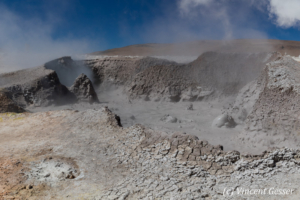 Geothermal field and boiling mud pool of Sol de Manana, Bolivia