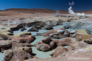 Geothermal field and pools of Sol de Manana, Bolivia