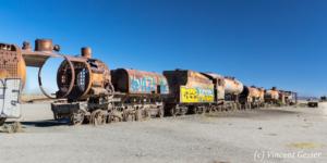 Train cimetery near Uyuni, Bolivia
