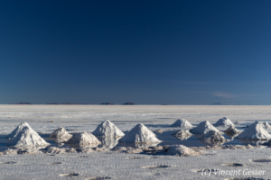 Salt mounts on the Salar of Uyuni, Bolivia