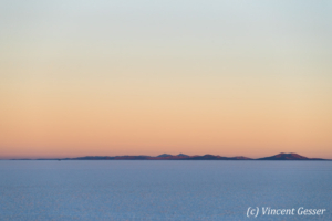 Salar of Uyuni at dusk, Bolivia